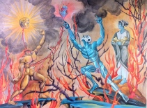 Resurrection of the Father (I), 2013, watercolor on paper, 18 by 24""
