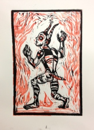 Loki : two color relief print on paper