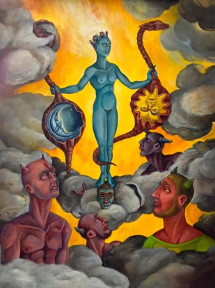 The Apotheosis of Sophia, 2014, oil on masonite, 18 by 24""