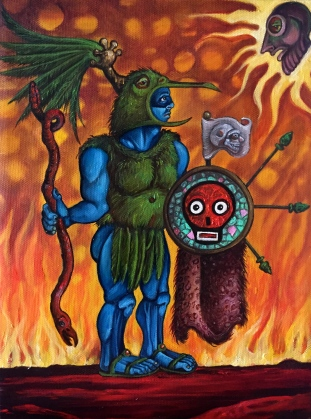 The Great War God Huitzilopochtli, 2015, oil on canvas, 8 by 12""