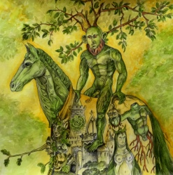 The Green Knight, 2015, watercolor on paper, 11 by 11""