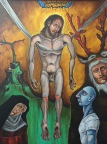 The Descent from the Cross, 2015, acrylic on canvas, 30 by 40""
