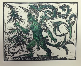 The Green Knight 2015 relief print on paper