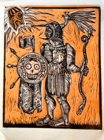 The Great War God, Huitzliopochtli, 2014, 9 by 12""