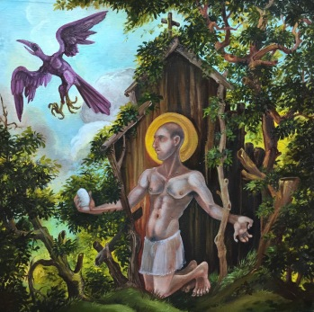 St. Kevin and the Blackbird, 2016 oil on panel 12 by 12""