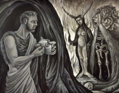 The Temptation of St. Anthony of the Desert, II, 2014, oil on canvas, 16 by 20""