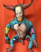 Adam the Minotaur, 2016, painted cloth, thread, polyfill, 15 by 24""