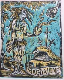The Magdalene, 2017, three plate relief print, series of five