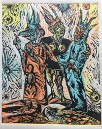 The Sisters Wyrd, 2017. four plate relief print on paper, series of four