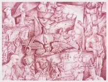 """The Temptation of St.Anthony of the Desert at the Baths of St. Mark "" 2016 Sanguine pencil on paper 18 by 24 inches"