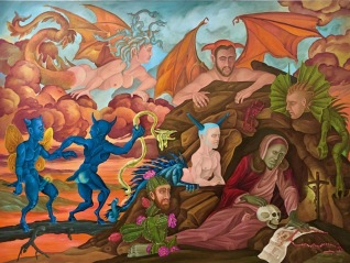 """The Temptation of St. Anthony of the Desert, I"" 2013 Oil on canvas. 36 by 48 inches."