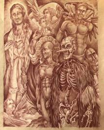 The Harrowing of Hell 2018 Sanguine pencil, white charcoal highlights on toned paper 24 by 18 inches