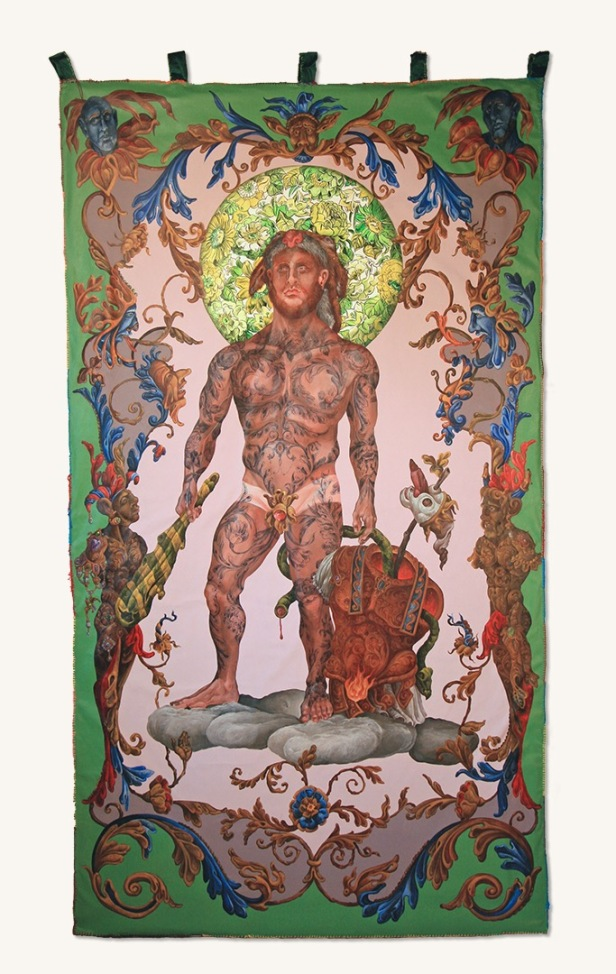The Herakles Tapestry 2018 Acrylic on unbound canvas, embroidery floss, recycled fiber 99 by 55 inches