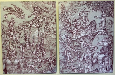 The Labors of Herakles 2019 Sanguine pencil with white chalk highlights, on toned paper Diptych total 24 by 36 inches