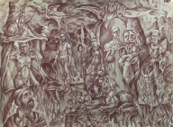 Orpheus' Descent 2018 Sanguine pencil, white chalk highlights on toned paper 18 by 24 inches