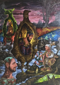 The Conversion of St. Paul on the Road to Damascus 2019 Oil on canvas 48 by 36 inches